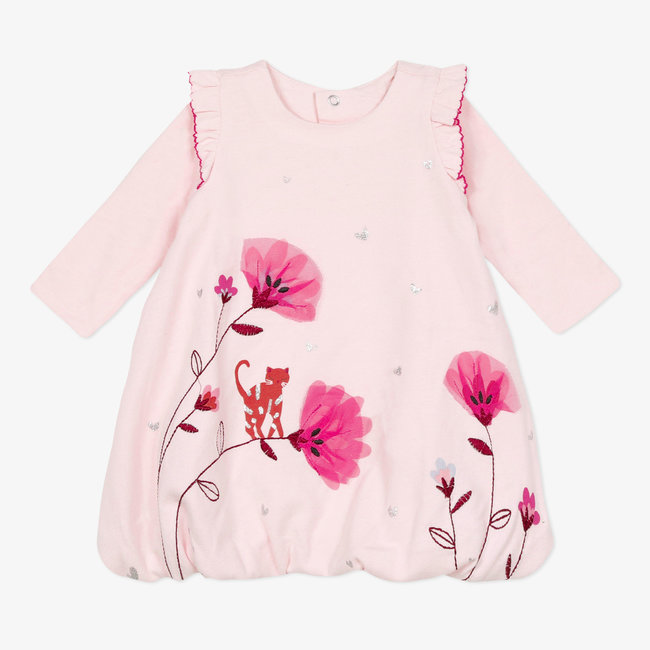 Baby girls' jersey puffball dress pink