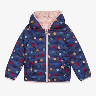 Girls' reversible padded coat plain and print