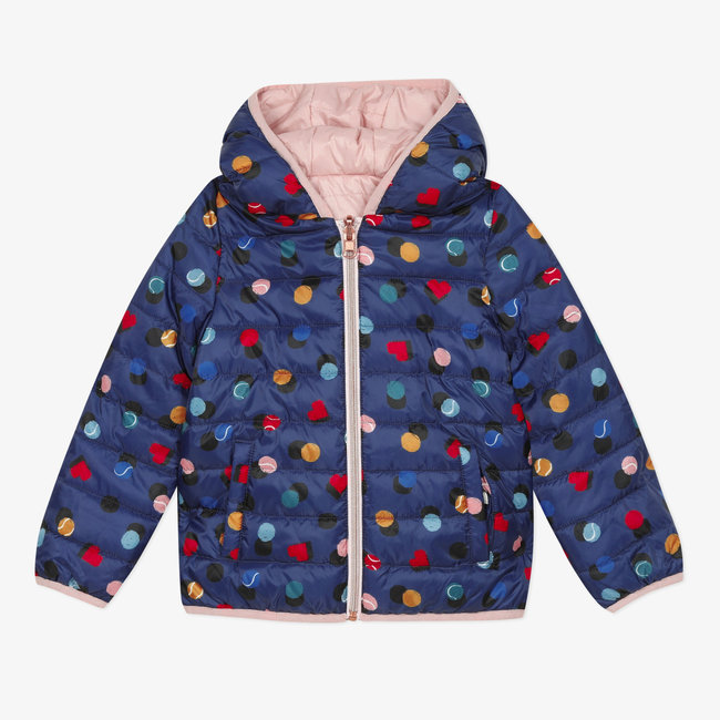 Girls' reversible padded coat plain and print