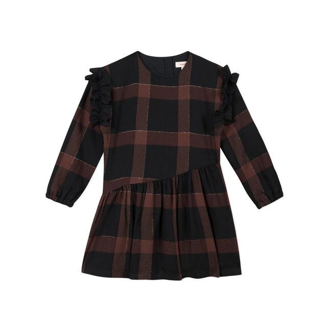 Girls' check twill dress