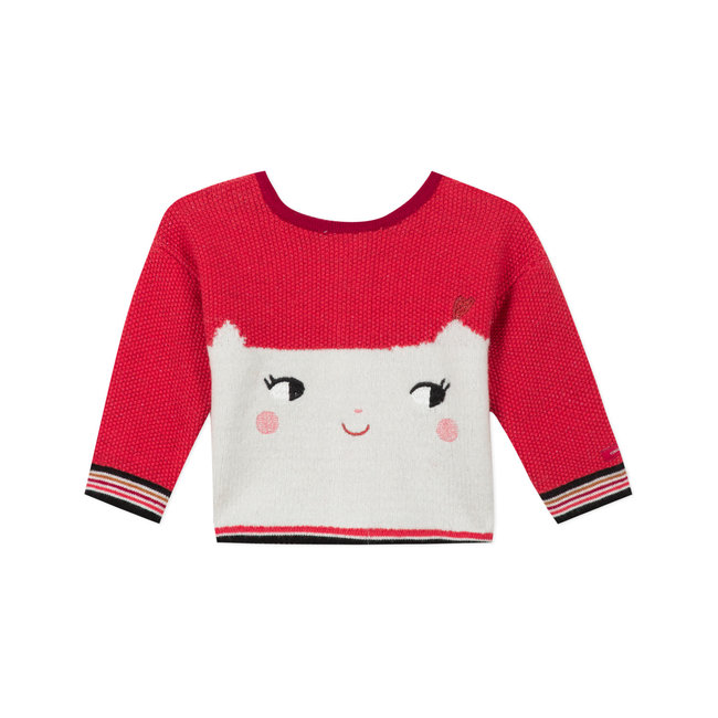 CATIMINI Baby girl's heads and tails knitted cardigan smile face