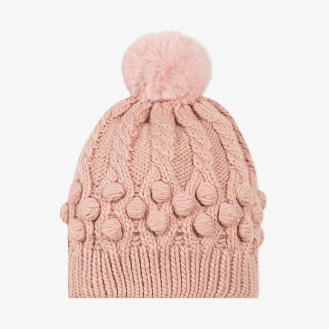 Girls' pink knitted braided hat