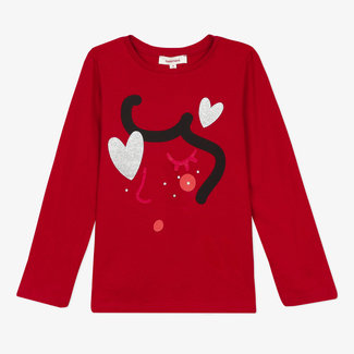 Girl's 3D motif jersey red T-shirt