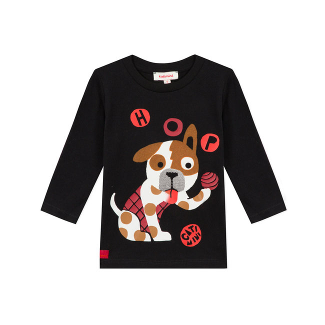 Baby boy's jersey T-shirt with dog motif