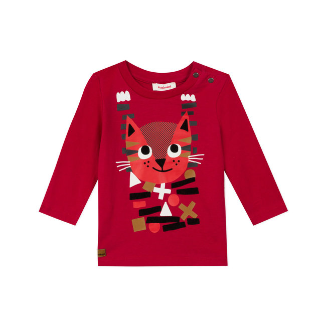 Baby boy's jersey T-shirt with cat motif