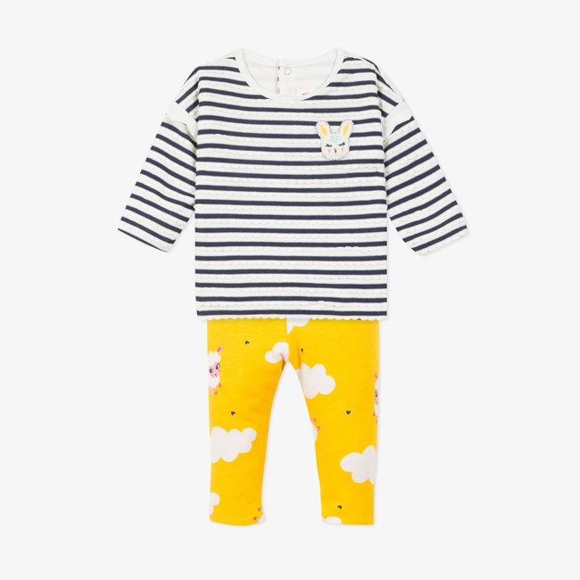 Baby girls' striped jersey top and knit leggings