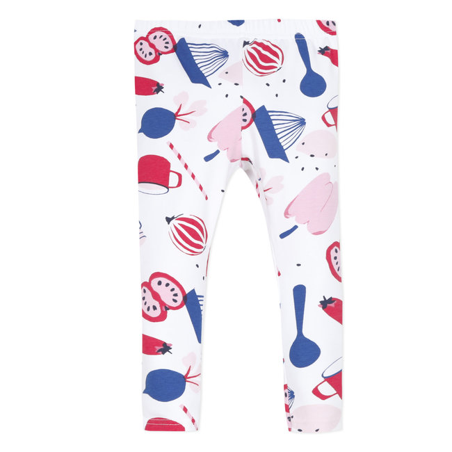 Baby girl's printed stretch jersey leggings-white