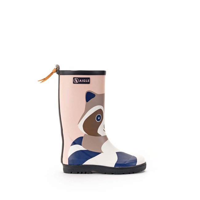 AIGLE WOODYPOP FUN RACOON RUBBER BOOTS