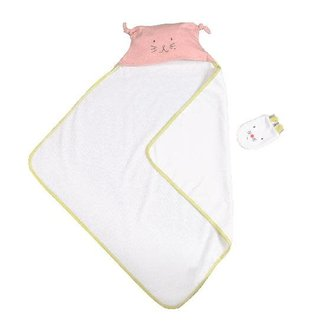 Petits Dodos hooded towel and mitt, pink