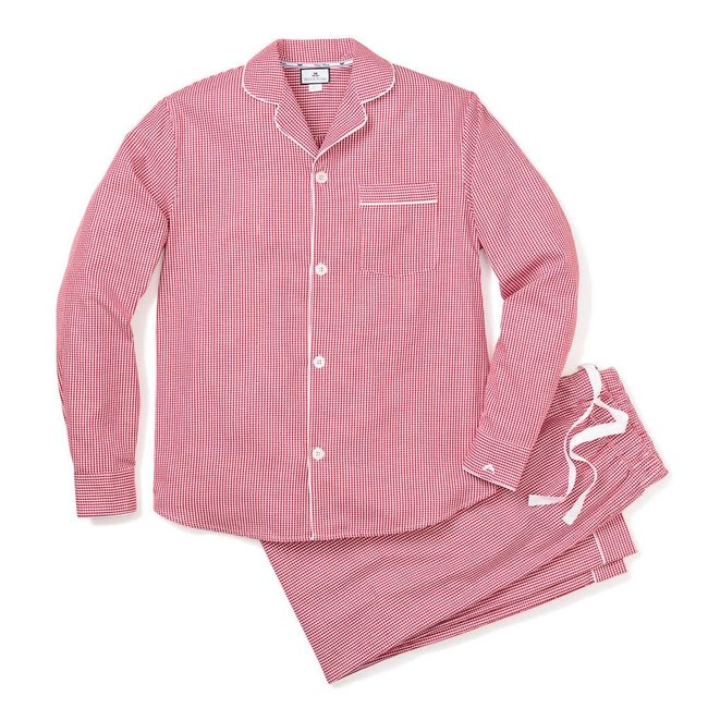 Petite Plume Men's Red Mini Gingham Pajama Set