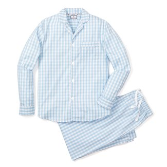 Petite Plume Women's Light Blue Gingham Pajama Set