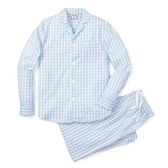 Petite Plume Women's Light Blue Gingham Pajama Set