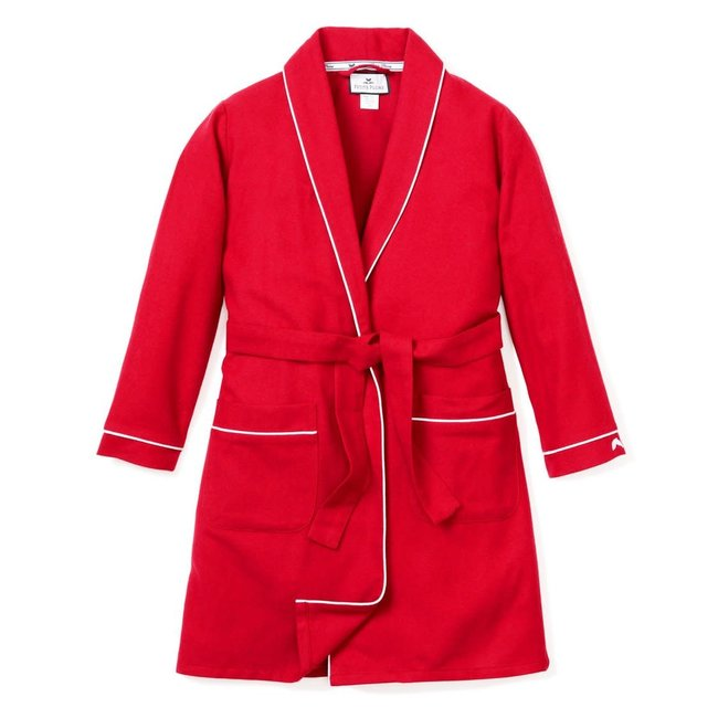 Petite Plume Red Flannel Robe with White Piping