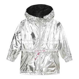 CATIMINI Girl's reversible coated parka in silver and perforated black