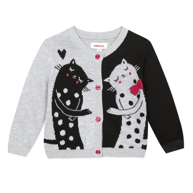 CATIMINI Baby girl's knitted cardigan with jacquard cats