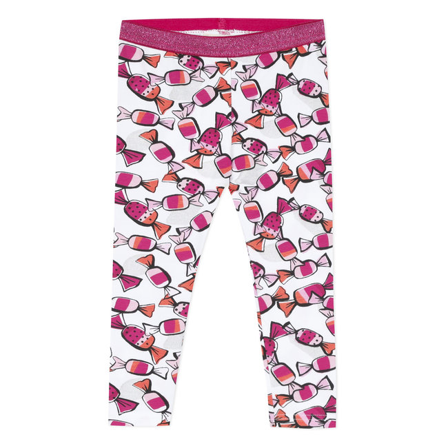 CATIMINI Baby girl's printed stretch jersey leggings with sparkly waistband