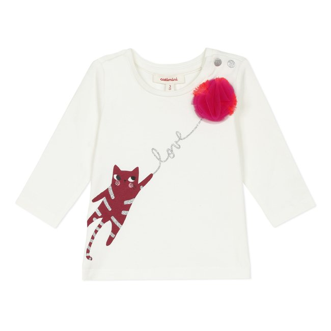 CATIMINI Baby girls'  jersey T-shirt with tulle pompom