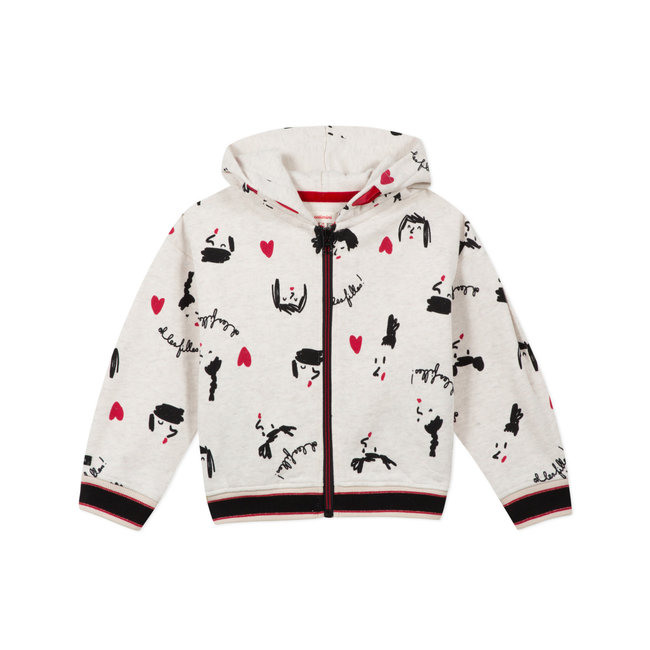 CATIMINI Girls' glittery zipped sweatshirt with print
