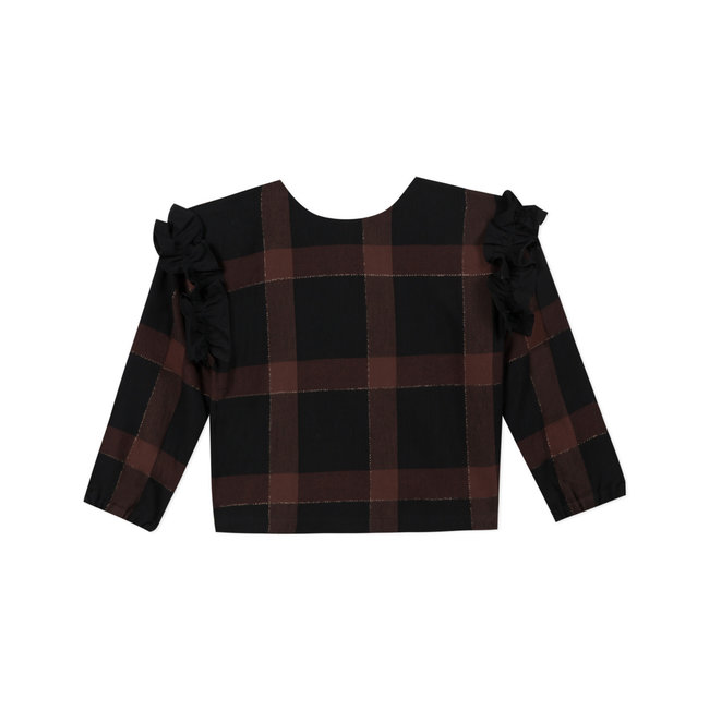 CATIMINI Girls' twill check reversible top