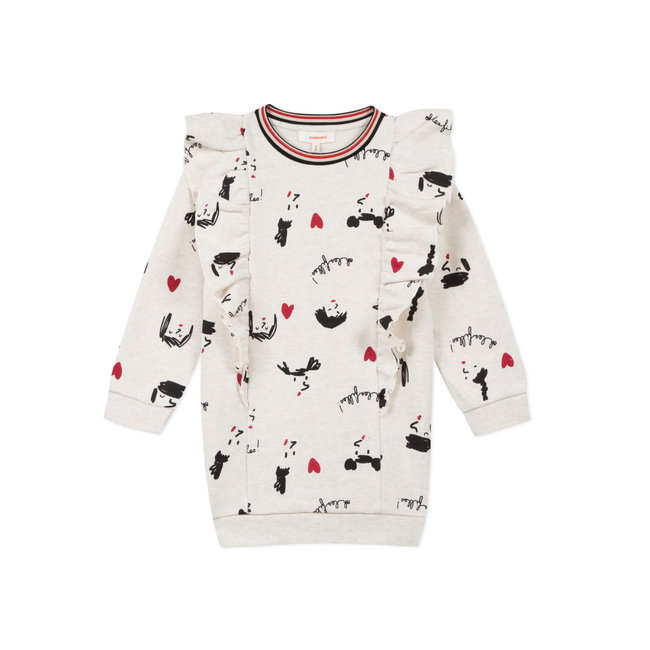 CATIMINI Girls' sequinned printed fleece dress with frills