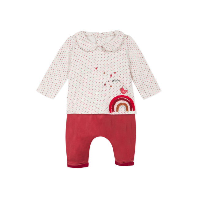 CATIMINI Baby girls' printed fleece T-shirt & velvet trousers
