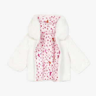 CATIMINI Reversible print fur and jersey jacket baby girls