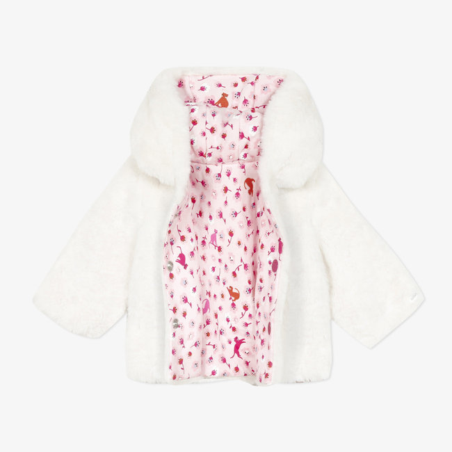 CATIMINI Reversible print fur and jersey jacket baby girls