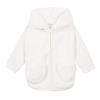CATIMINI Baby girls' fur-lined knitted coat with hood