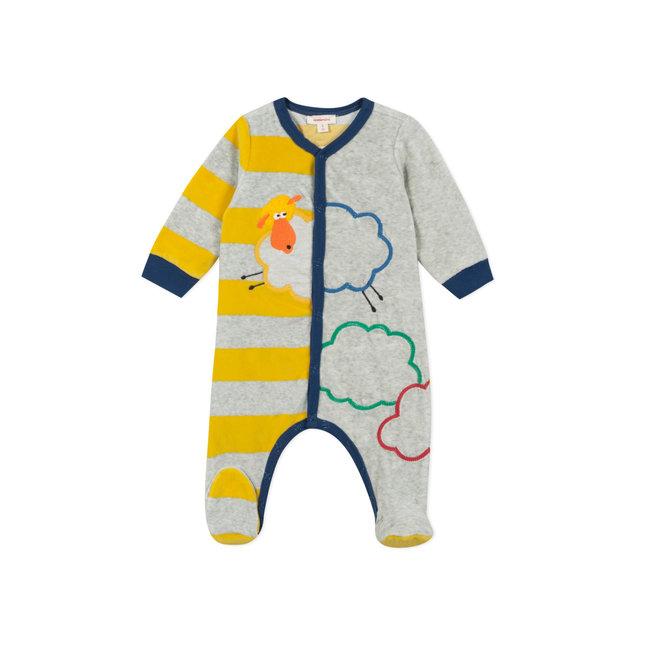 CATIMINI Baby boys' striped velvet pyjamas