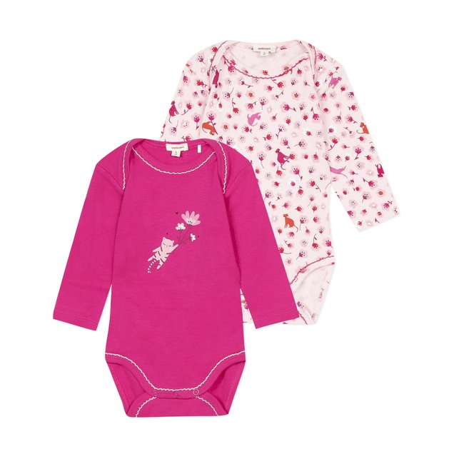 CATIMINI Pack of 2 envelope neck bodysuits for baby girls
