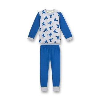 SANETTA Boy's pajamas long blue melange Dino