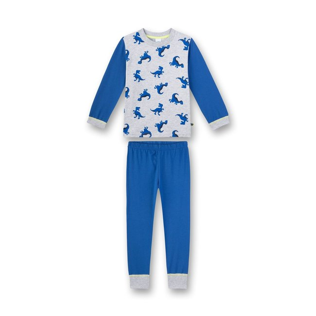 SANETTA Boy's pajamas long blue melange Dino