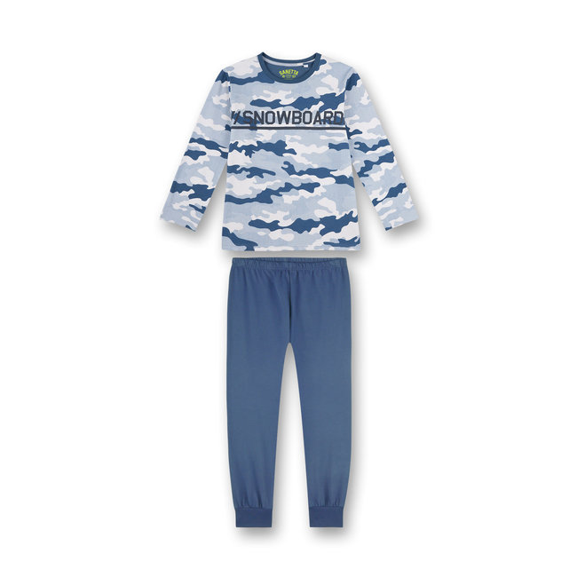 SANETTA Boy's pajamas blue camouflage all-over snowboarder