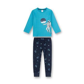 SANETTA Boy's pajamas long turquoise Rocketman