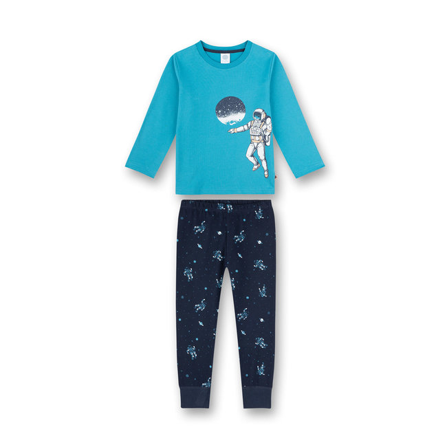 SANETTA Boy's pajamas long turquoise Rocketman