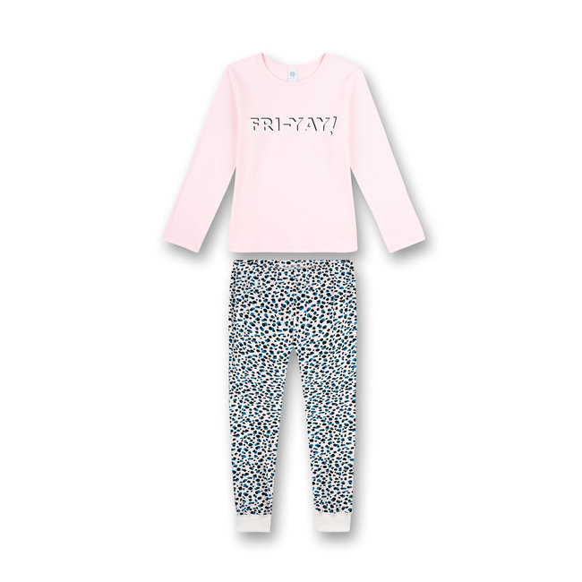 SANETTA Girl's long pajamas Stay Home pink