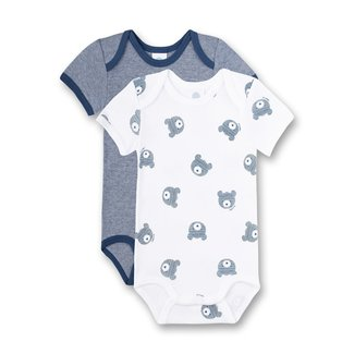SANETTA Body short-sleeved (double pack) white and blue-striped Bear