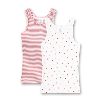 SANETTA Girl's undershirt (double pack) off-white and red ringed