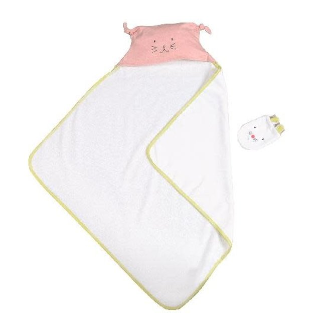 MOULIN ROTY Petits Dodos hooded towel and mitt, pink