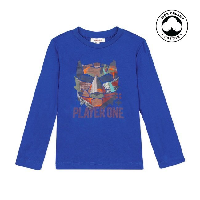 CATIMINI Boy's royal blue T-shirt with tiger
