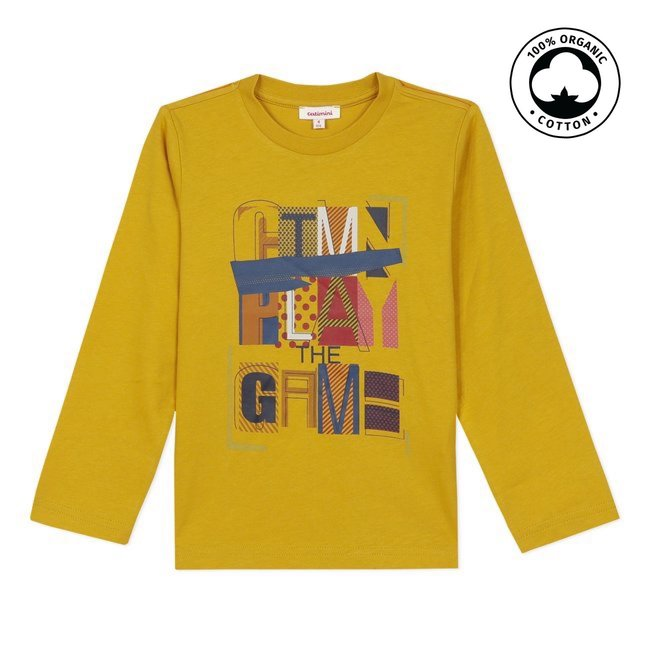 CATIMINI Boy's jersey yellow T-shirt with motif
