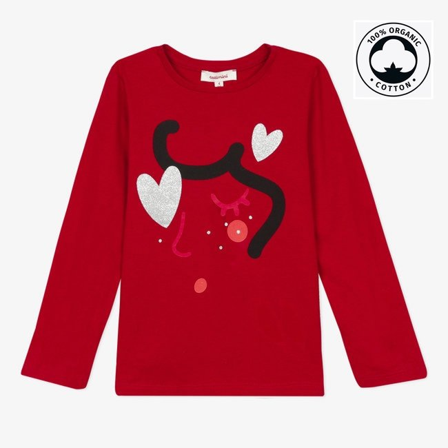 CATIMINI Girl's 3D motif jersey red T-shirt