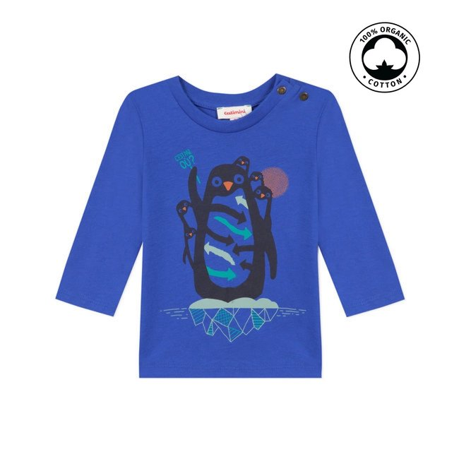 CATIMINI Baby boy's blue T-shirt with penguin visual