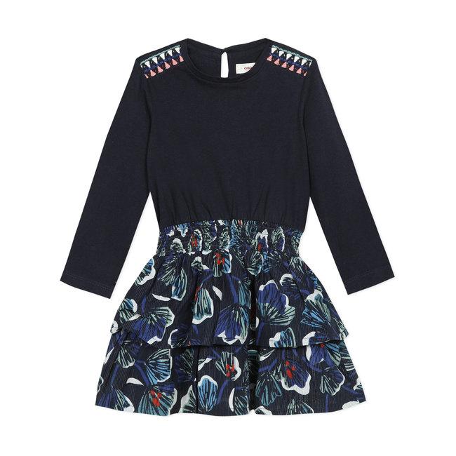 CATIMINI Girls' iridescent jersey and voile T-shirt dress