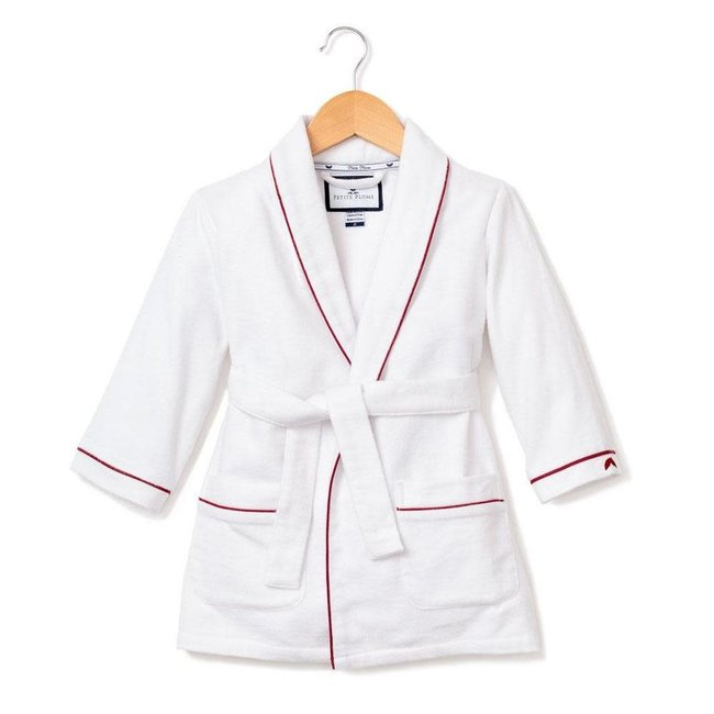 Petite Plume White Flannel Robe with Red Piping