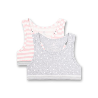 SANETTA Girls' bustier (double pack) Gray melange dots all over and pink stripes