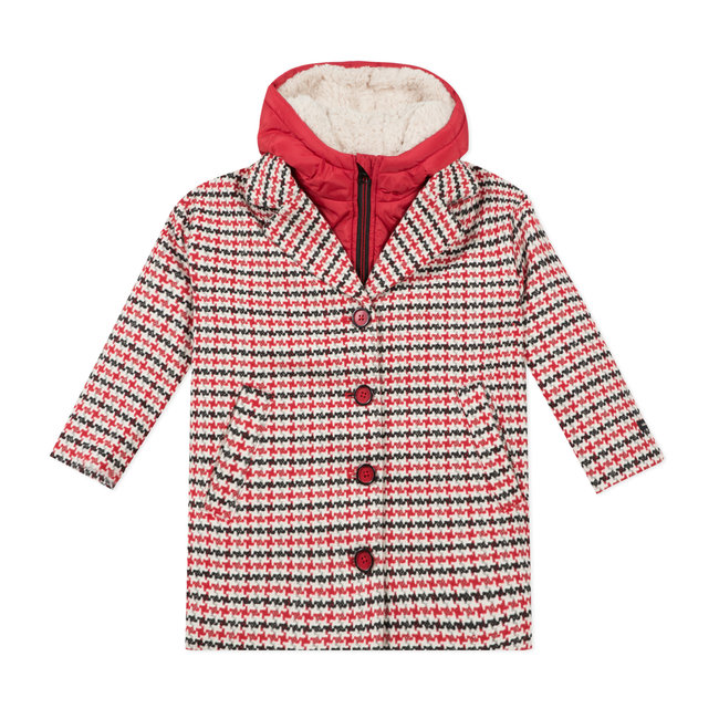 CATIMINI Girls' 3 in 1 houndstooth coat and puffa jacket