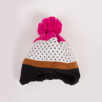 CATIMINI MULTI-COLOURED KNIT HAT WITH JACQUARD PATTERNS