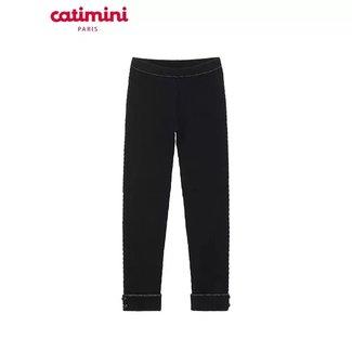 CATIMINI Girl's black stretch jersey leggings