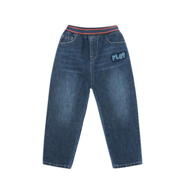 CATIMINI Boy's knit indigo denim jeans